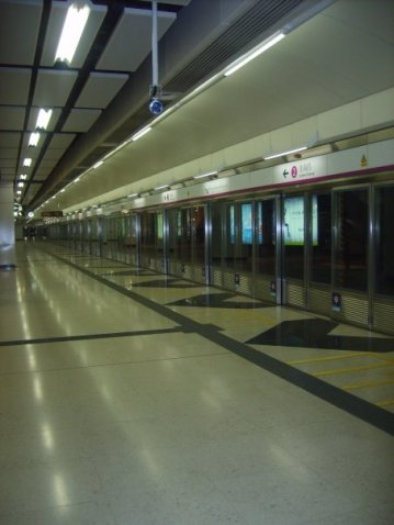 A rare sight - an empty MTR station